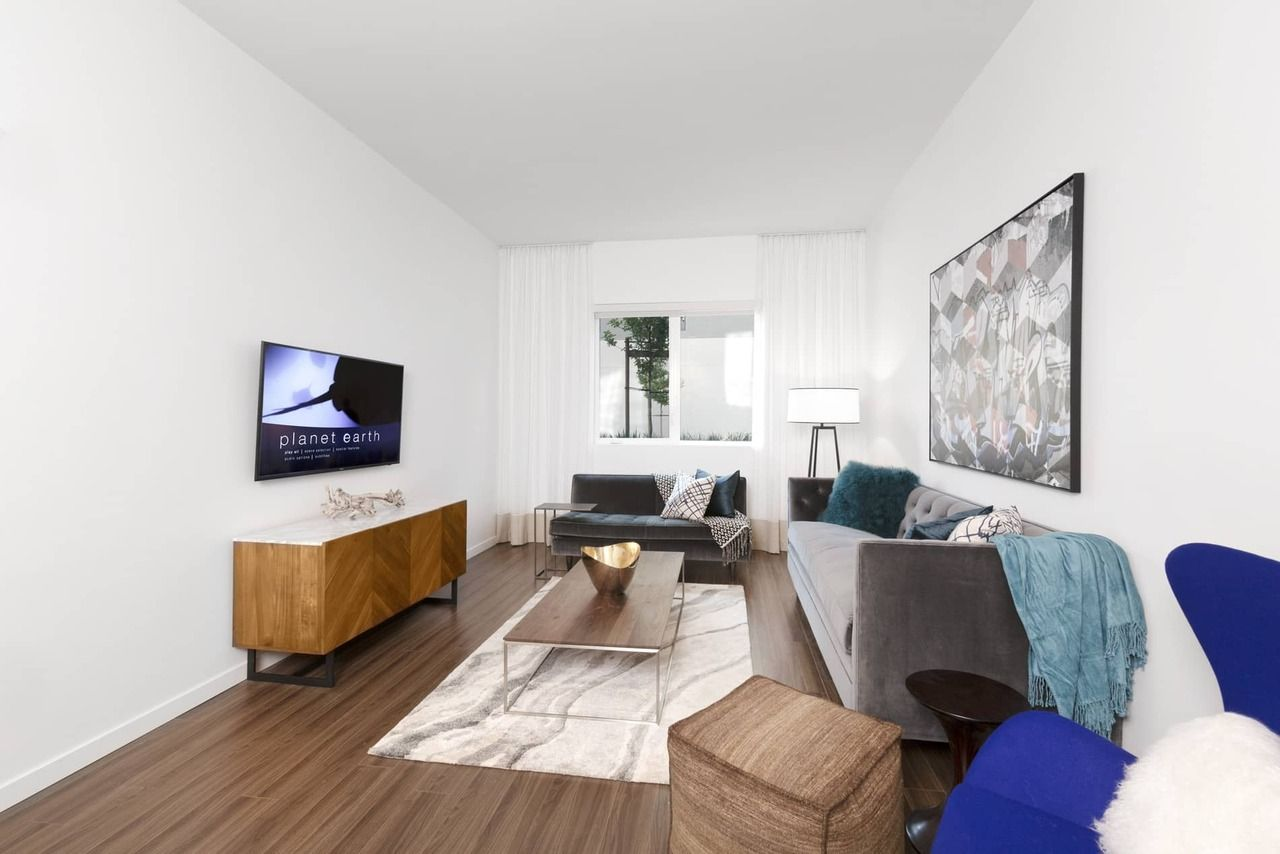 Trendy living room design at Verve Apartments in Mountain View, CA ...