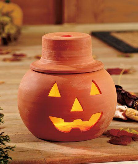 Terra Cotta Jack O Lantern Holiday Pottery Jack O Lantern White Pumpkins