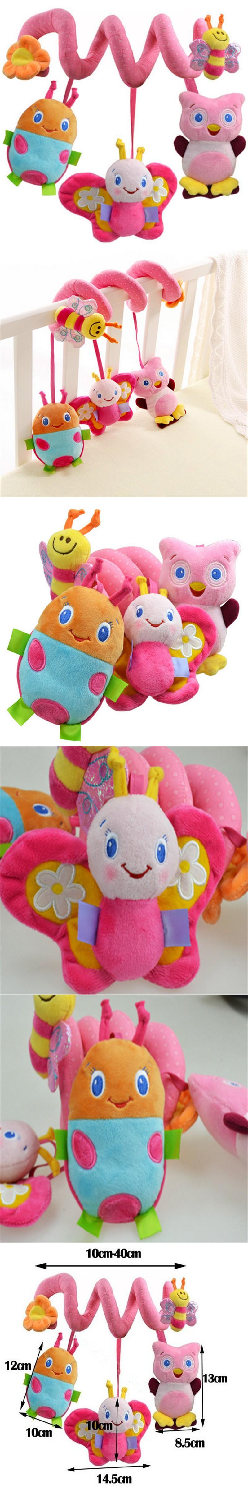 Car hanging toys  Soft Musical Animal Bee Pink Hanging Toys Plush Crib Bed Car Hanging