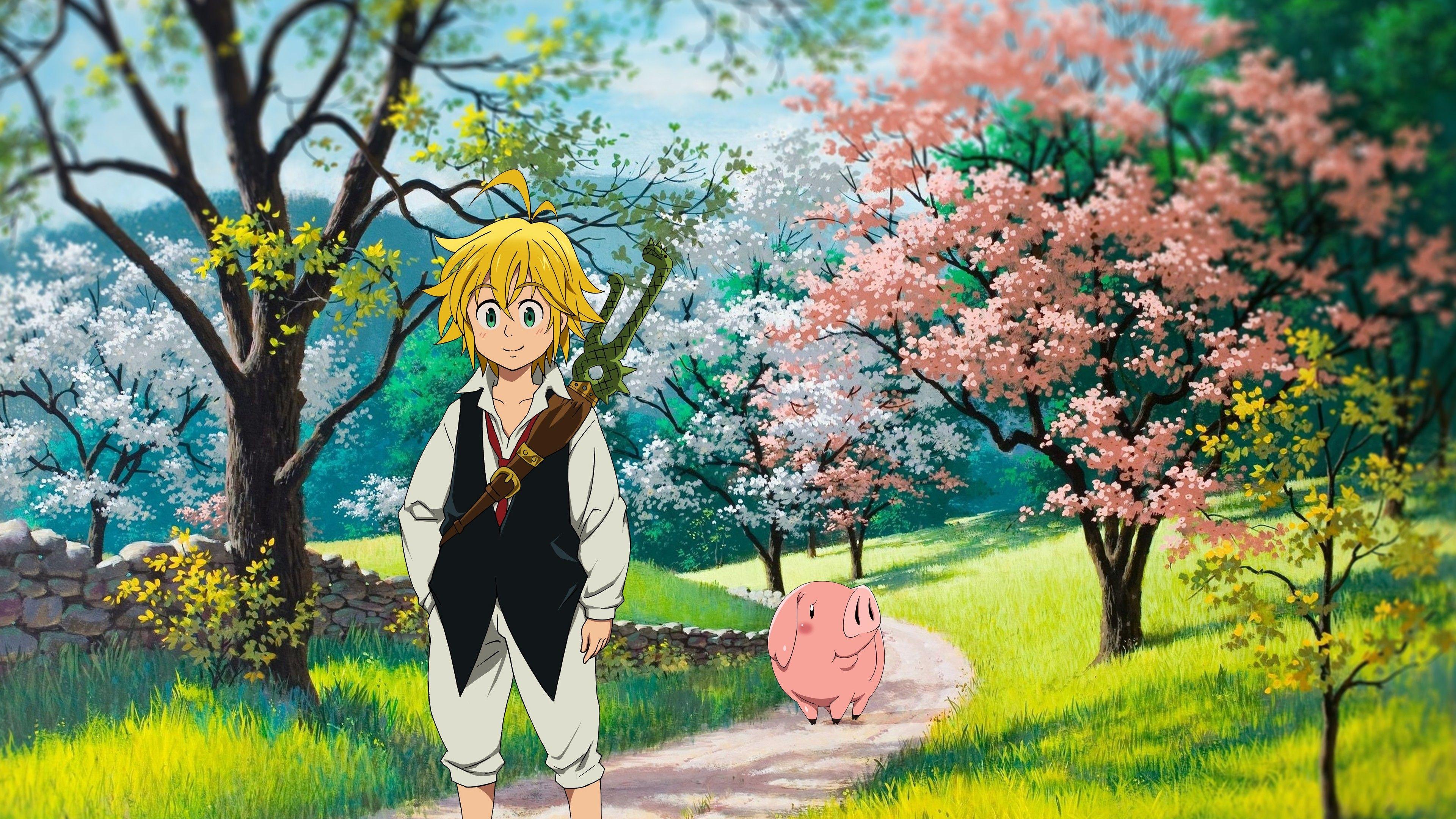 Nanatsu No Taizai Meliodas Hawk Walking Sakura Anime Wallpaper Seven Deadly Sins Anime Art Wallpaper
