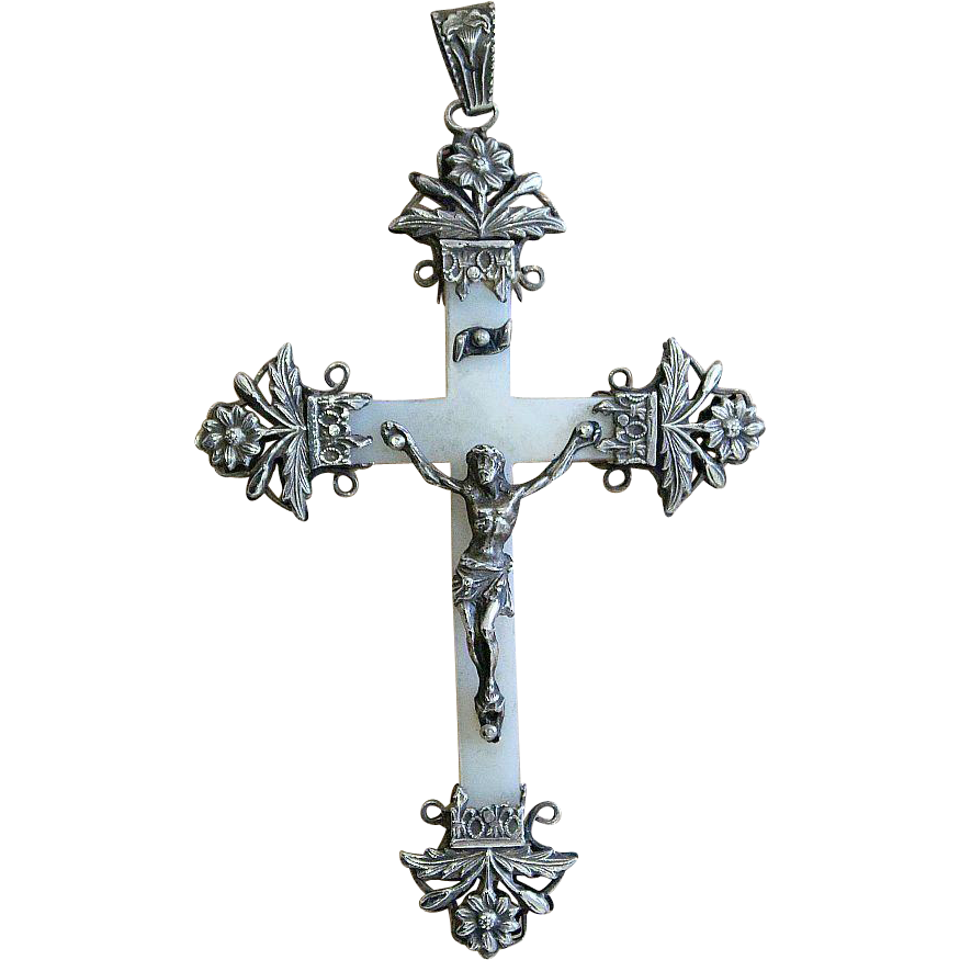 Rare Very Early Art Nouveau Mother Of Pearl And Sterling Silver Cross Pendant First Comm Sterling Silver Cross Sterling Silver Cross Pendant Modern Jewelry