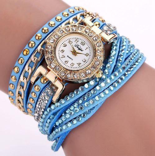 Braided Rhinestone with Chain Bracelet Watch