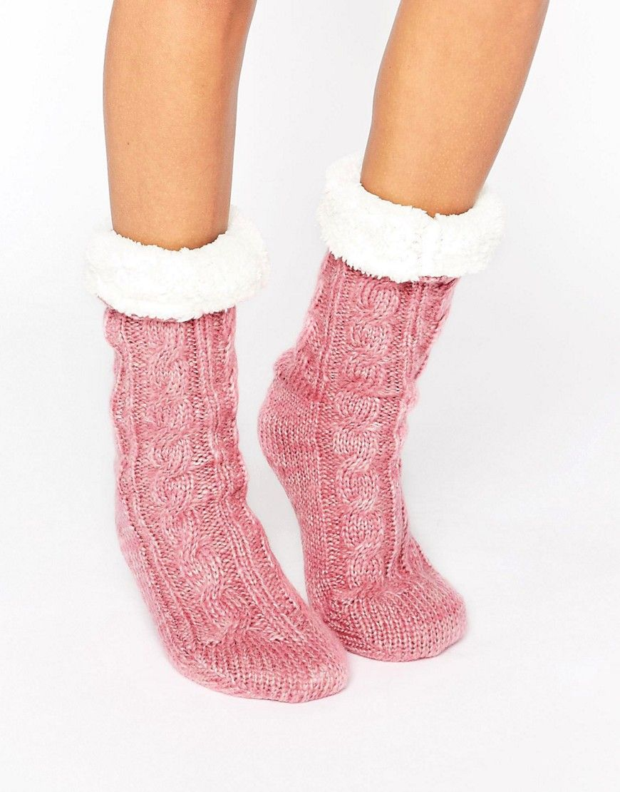 Cable Faux Fur Lined Slipper Sock  117f598fd7c