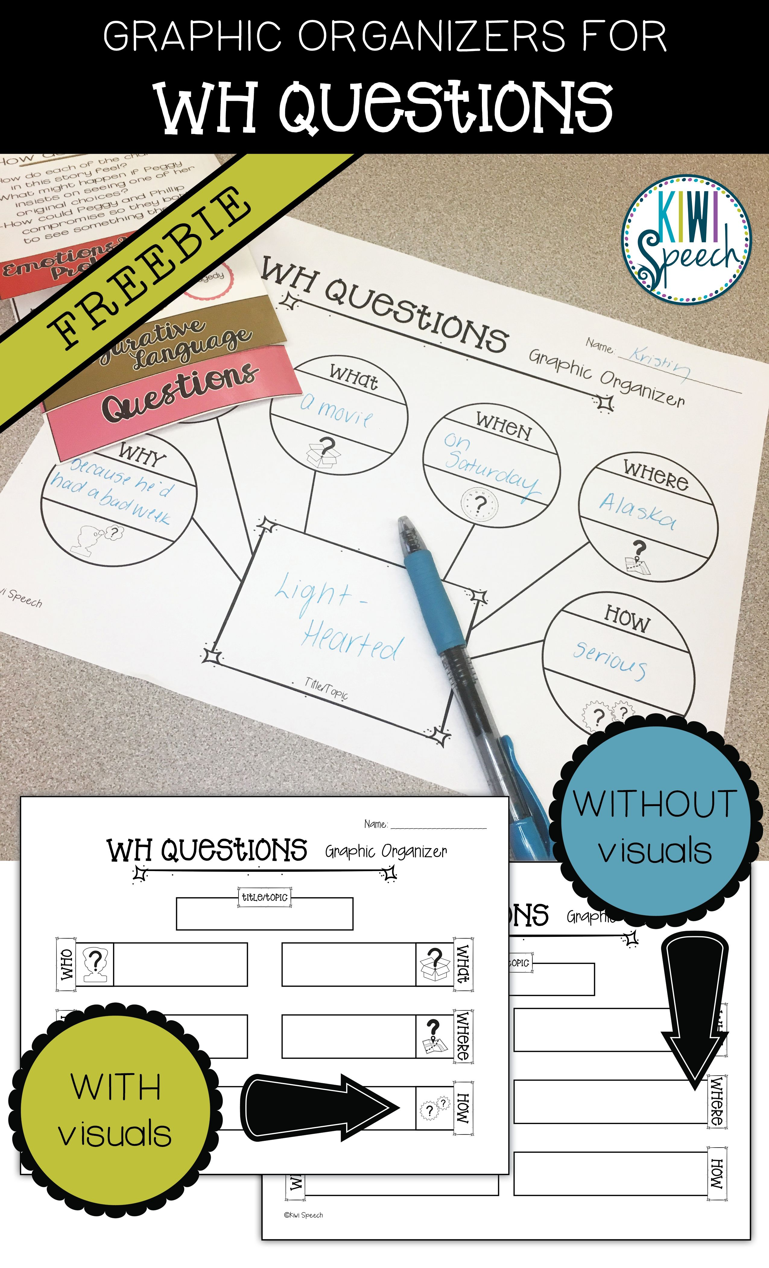 Wh Questions Graphic Organizers Freebie With Images