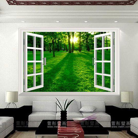Living Room Murals   Window Outdoor Effect