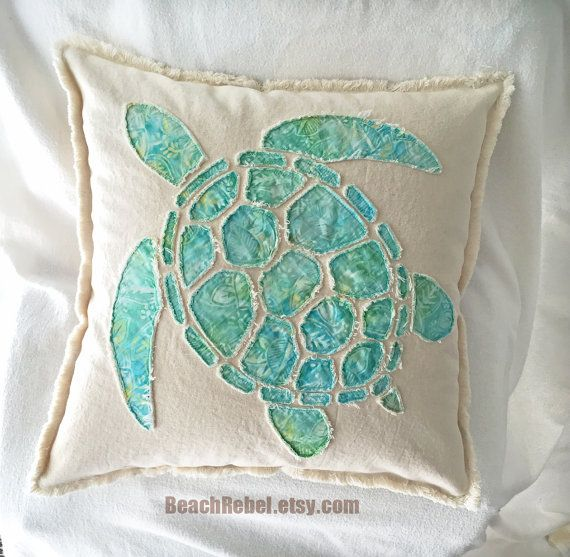 Sea Turtle Applique Pillow Cover In Aqua Leaf Batik And Natural Unbleached Distressed Denim Boho Pillow Cover 20 Quo Applique Pillows Turtle Quilt Boho Pillows