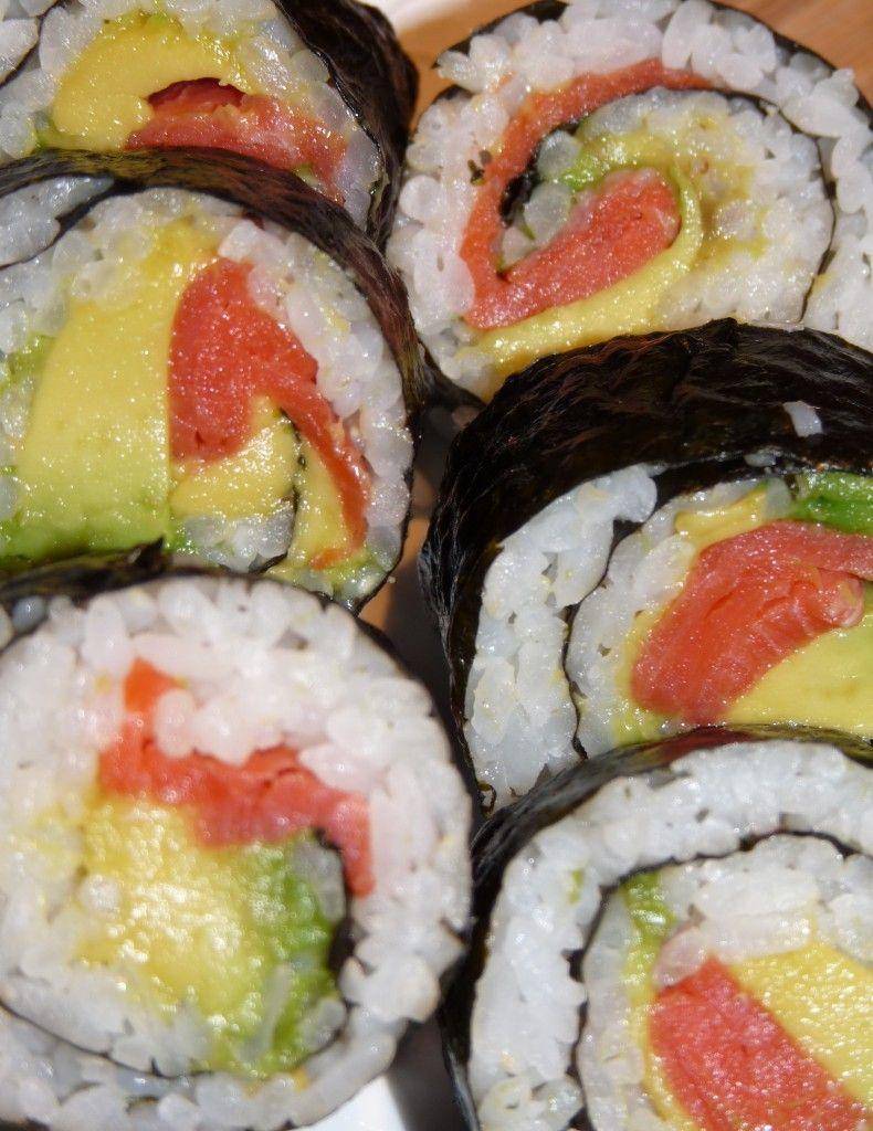Lunch Box sushi - filling ideas = spicy tuna (canned tuna, sriracha, mayo), avocado + scrambled egg, California, veggie roll