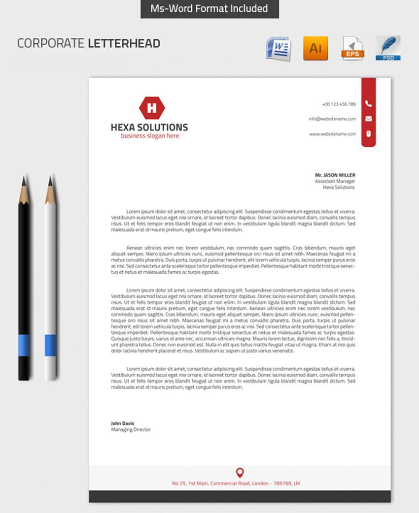 Free Microsoft Word Letterhead Templates Alluring Corporate Letterhead With Msword 01  Design Illustration .