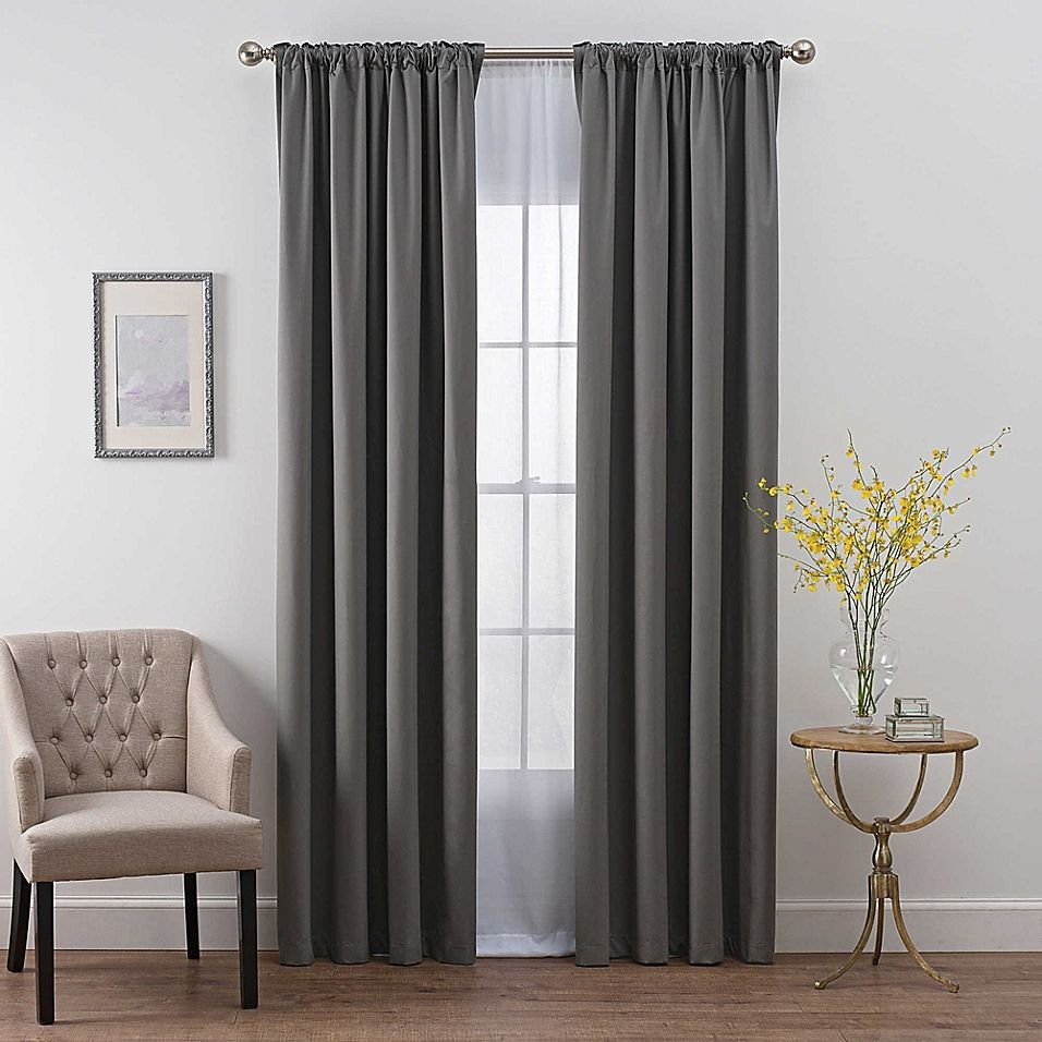 Smartblock Chroma 108 Inch Rod Pocket 100 Blackout Window Curtain Panel In Charcoal Panel Curtains Cool Curtains Blackout Windows