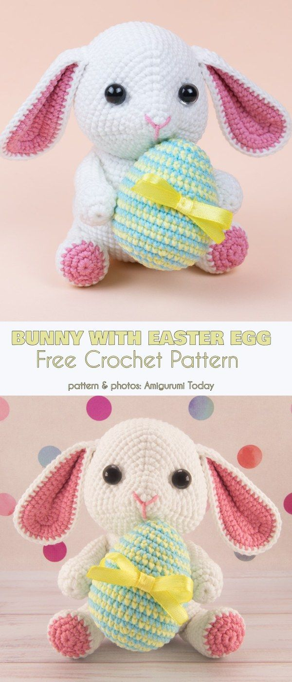 Bunny with Easter Egg Free Crochet Pattern #eastercrochetpatterns
