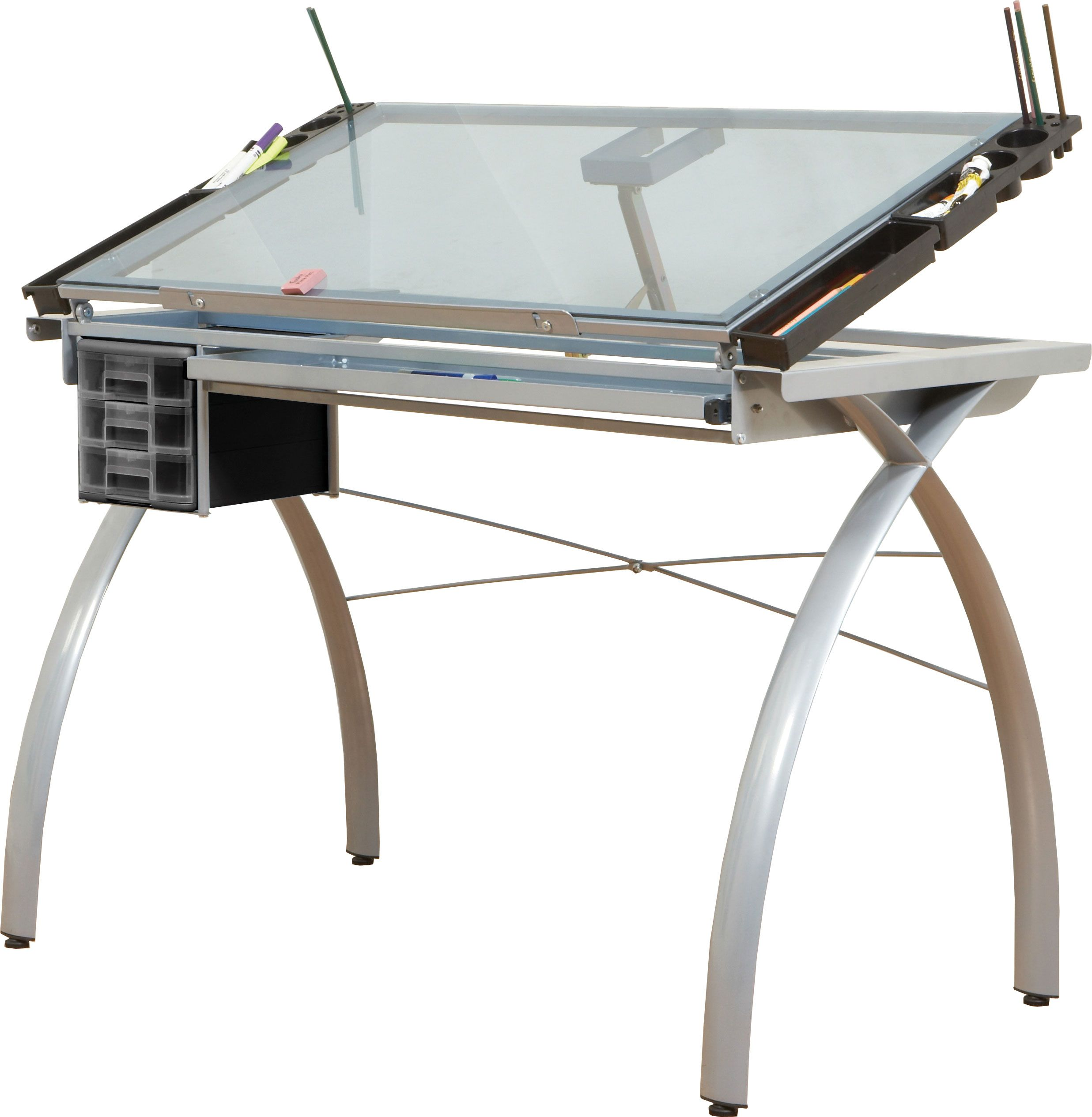 Superior Futura Drafting Table, Silver Base, Tiltable Blue Glass Top, 3 Drawers