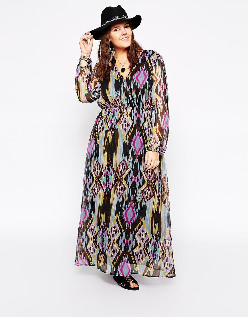 diya plus size long sleeve printed maxi dress | lyst | maxi