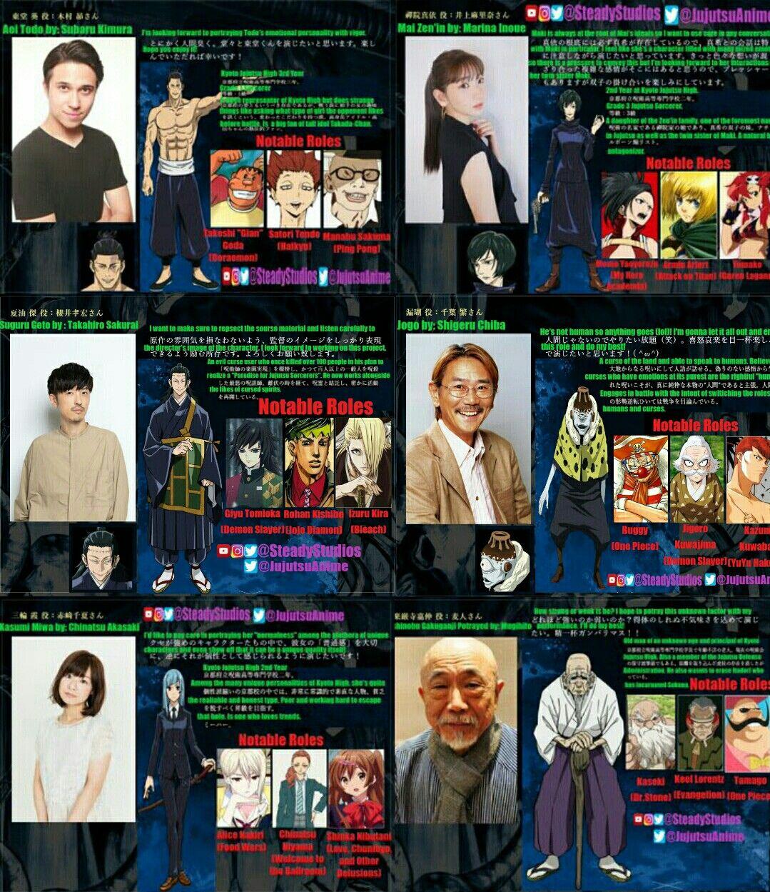 Jujutsu Kaisen 2nd Cour Additional Va Cast Animw Tv Seiyuu Kyoto Jujutsu High Voice Cast Revealed So Far In 2021 Animation Film Popular Tv Series Jujutsu