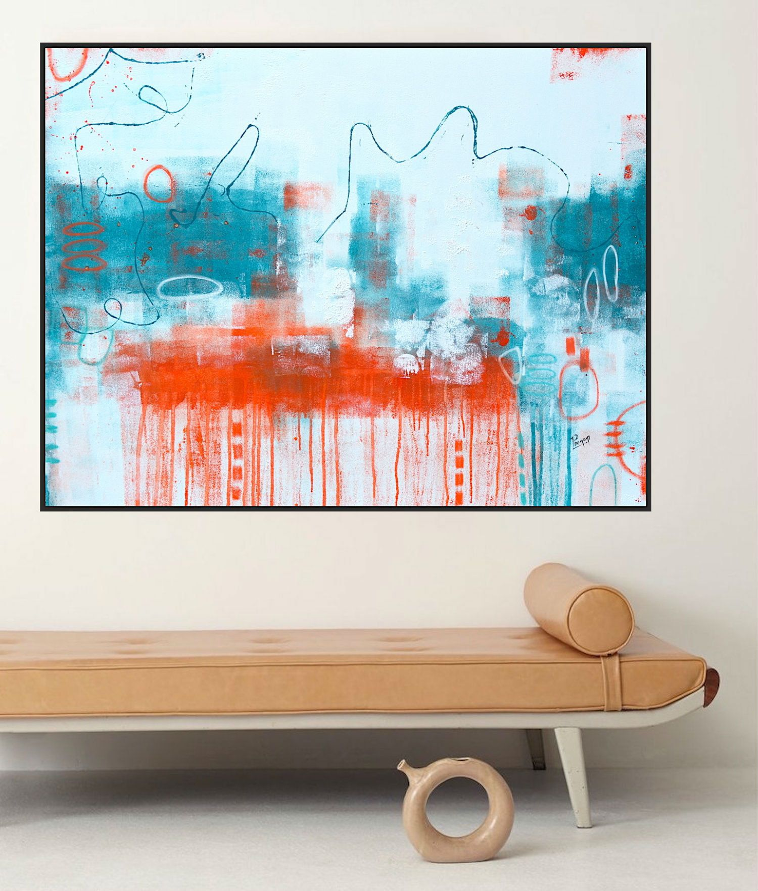 Large Canvas Painting Abstract Painting Teal Blue Art Orange Wall