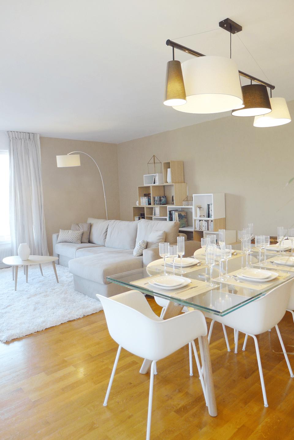 Skéa Designer  Sable blanc  Lustre salle à manger, Déco salon
