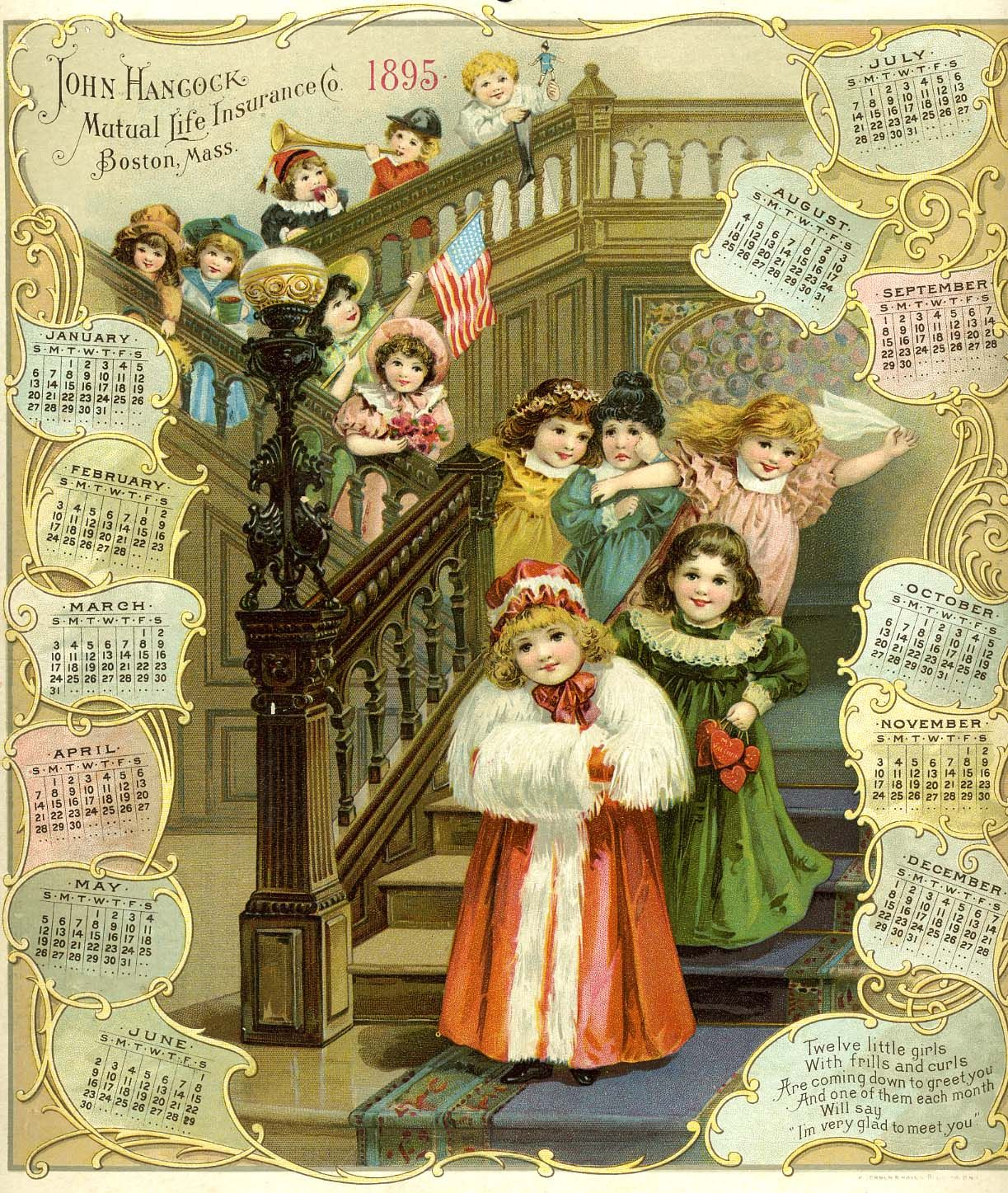 1895 john hancock mutual life insurance calendar vintage