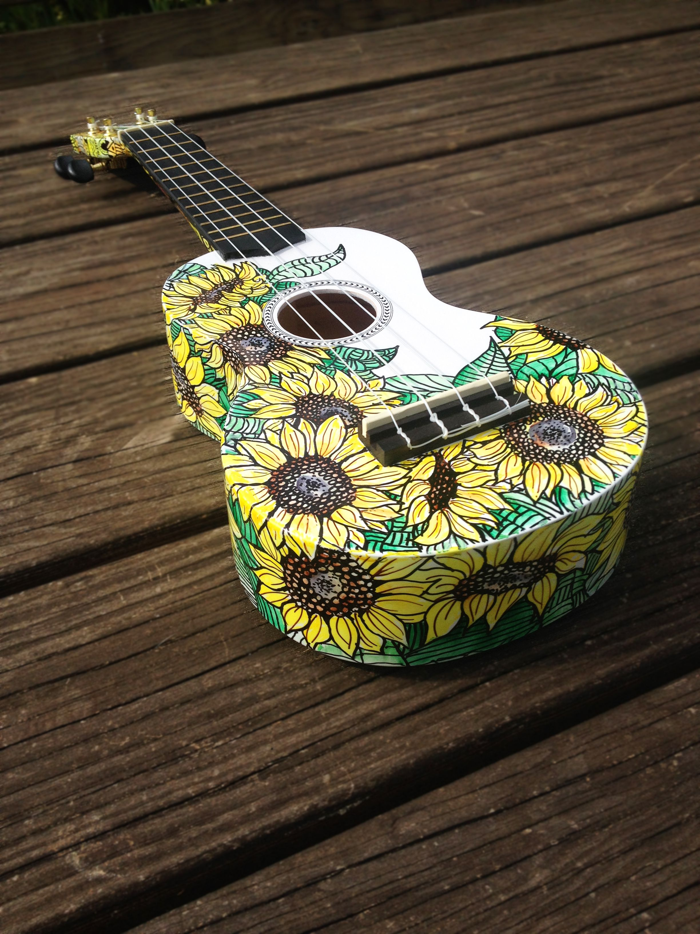 Cedar and Sycamore handpainted ukulele Sunflowers