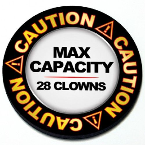 Caution: Max Capacity 28 Clowns MINI Cooper Magnetic Grill Badge - Google Search