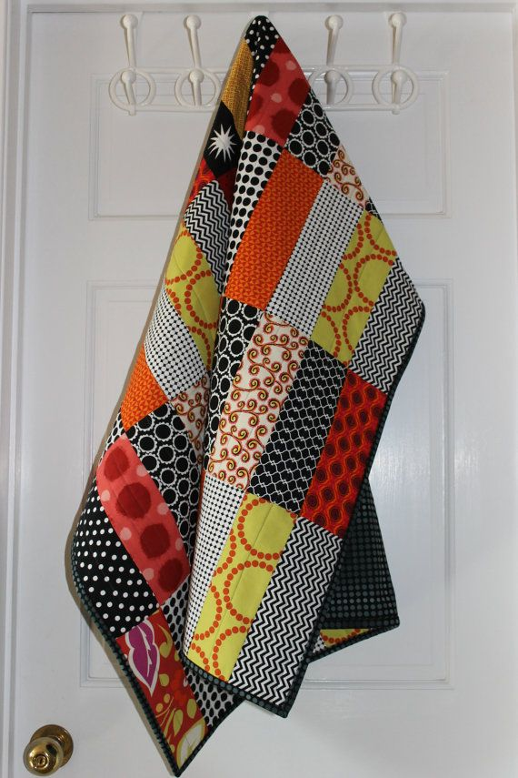Modern Baby Quilt Tessa Bar Pattern with Reds, Oranges and Citron with Black & White Accents by iheartbabyquilts, $98.00