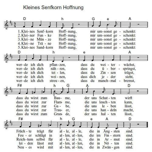 Lied Kleines Senfkorn Hoffnung Hoffnung Schone Lieder Lied