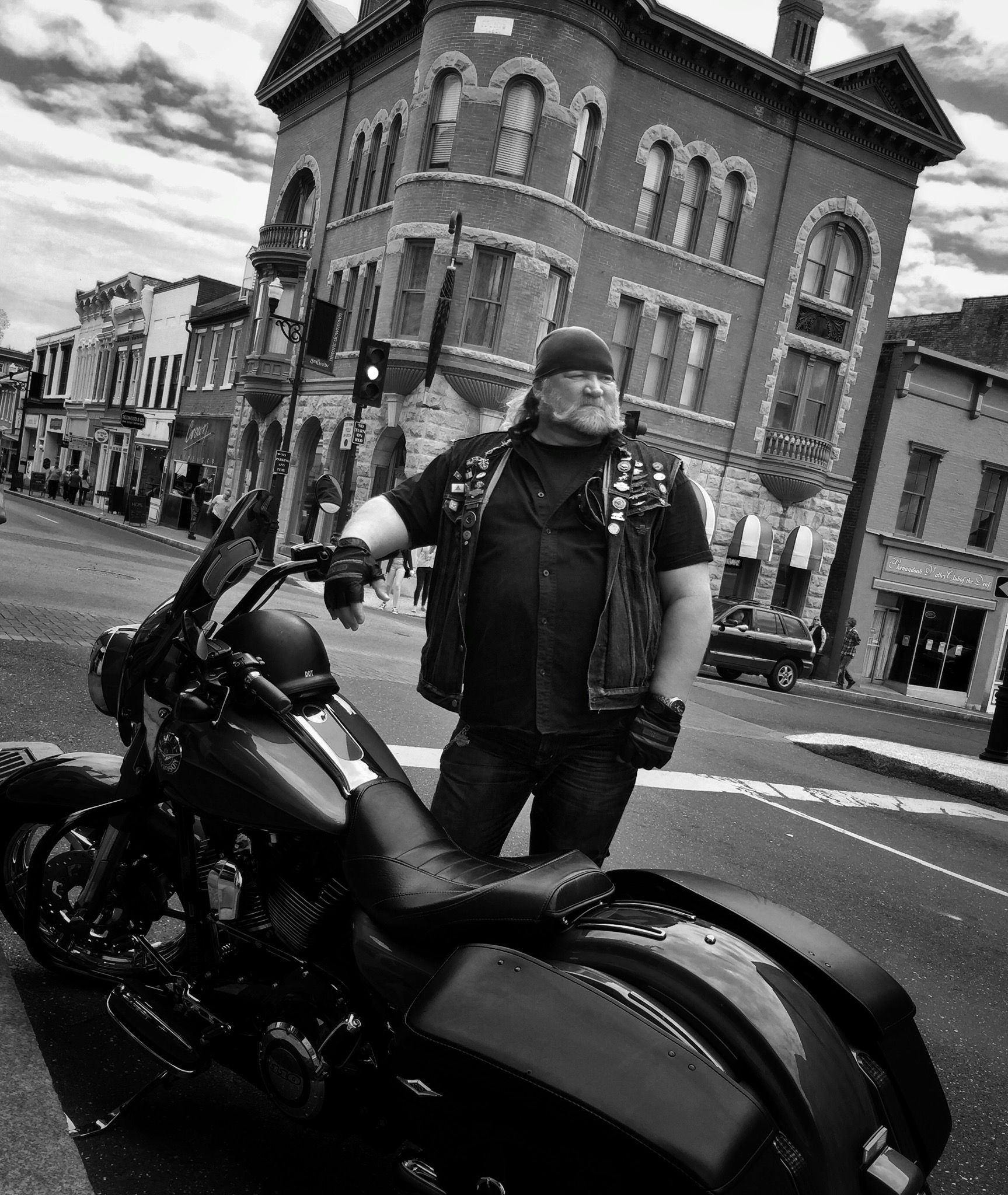"""Stan Ellsworth of """"American Ride"""" in Staunton, VA, shooting a stand-up for an episode about former President Woodrow Wilson for season 11."""