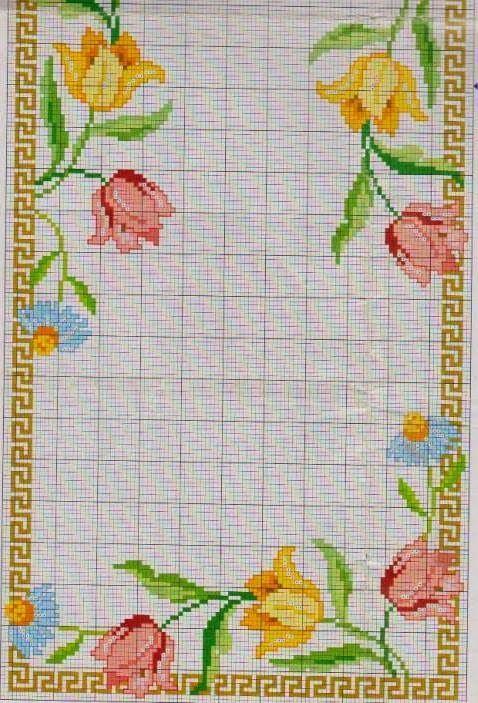 Flores Com Imagens Projetos De Ponto Cruz Coracao Ponto Cruz
