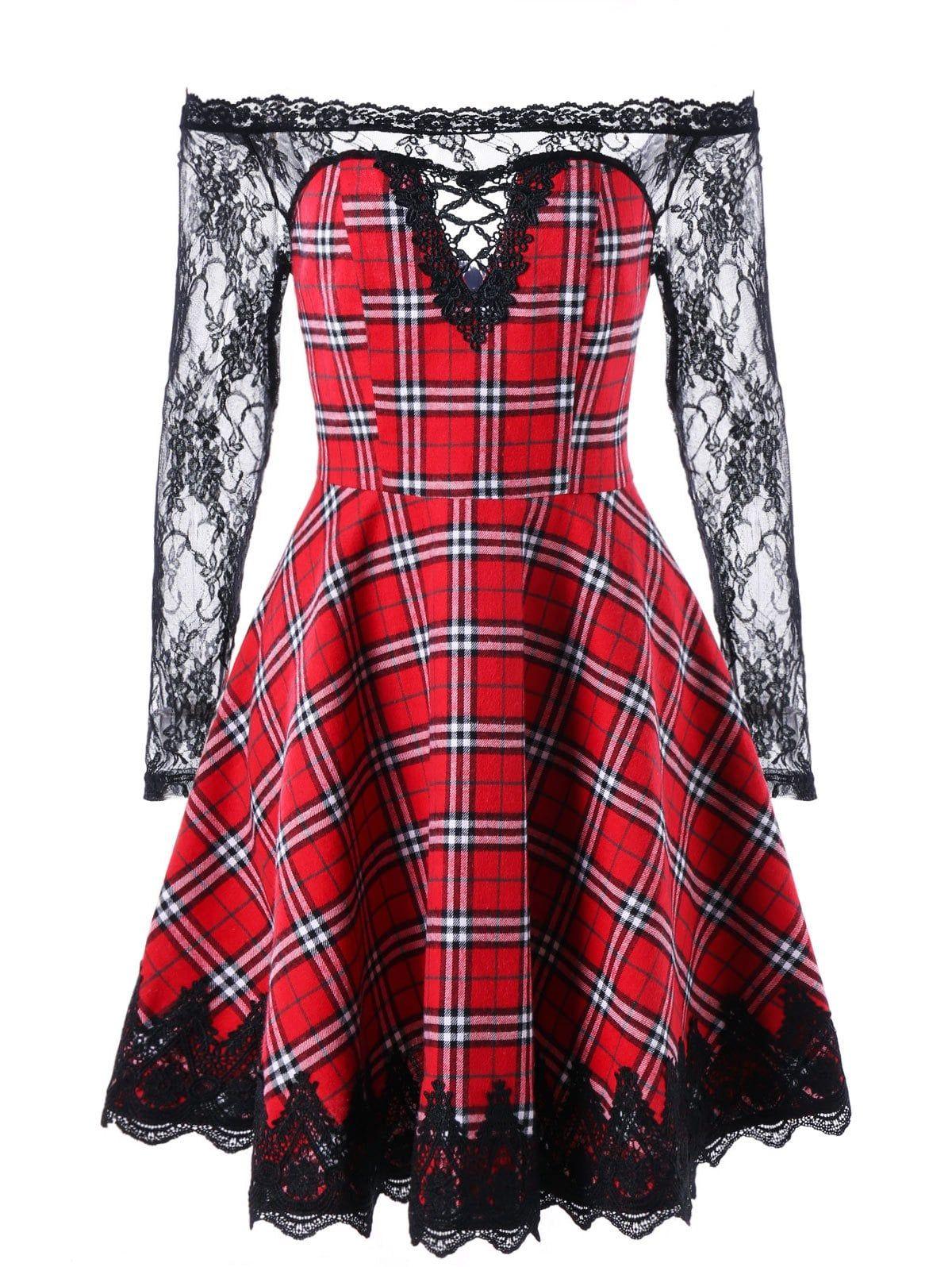 2cc3703706 Sheer Plaid Off The Shoulder Dress - RED BLACK XL