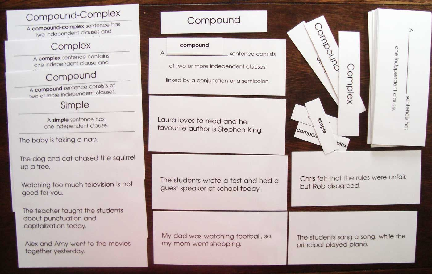 definitions and examples of simple compound complex and compoundcomplex sentences includes title cards definition cards and five sentence cards for
