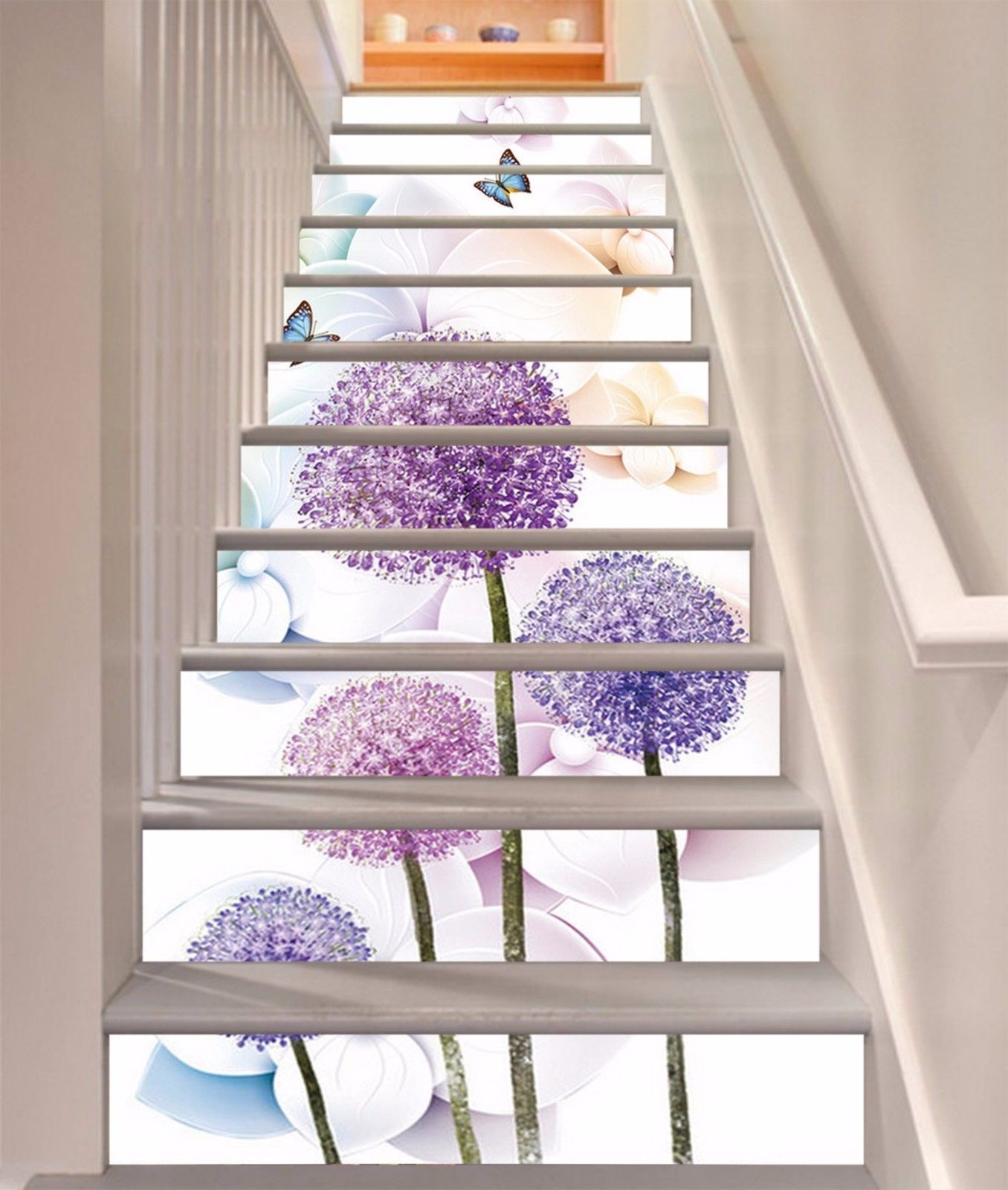3D Shiny Flower 07 Stairs Risers Decoration Mural Vinyl Decal