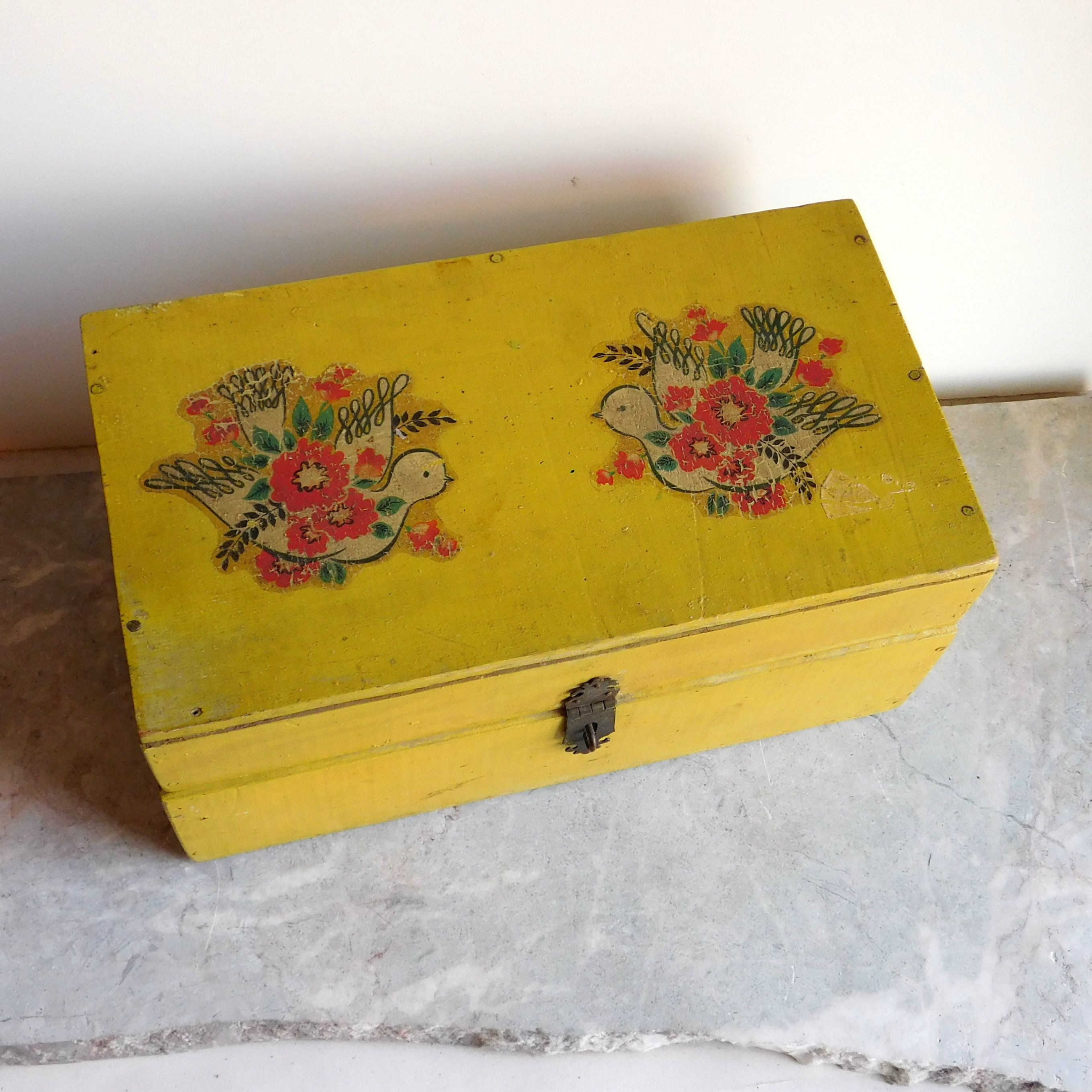 Vintage Hand Painted Wooden Jewelry Box Trinket Box Yellow Etsy Wooden Jewelry Boxes Shabby Cottage Style Hand Painted