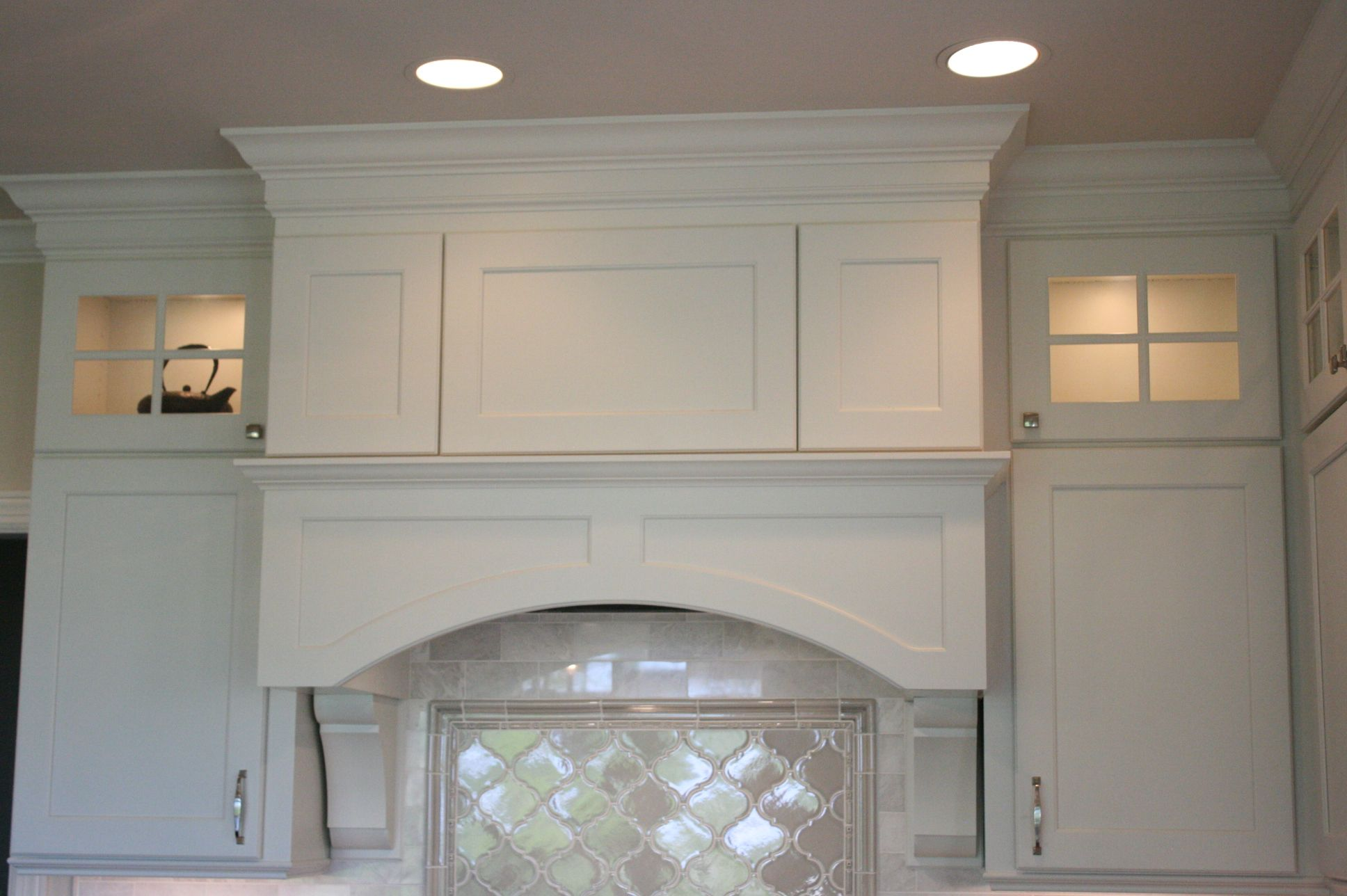 Crestwood Cabinetry. Canton door style in Icing opaque stain. Flat panel arched valance with & Crestwood Cabinetry. Canton door style in Icing opaque stain. Flat ...