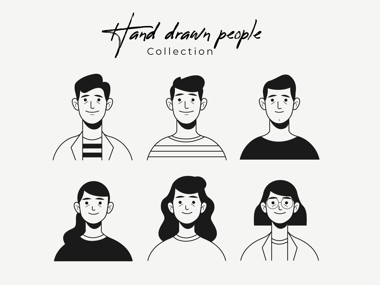 Hand drawn colorless people avatar collection characters