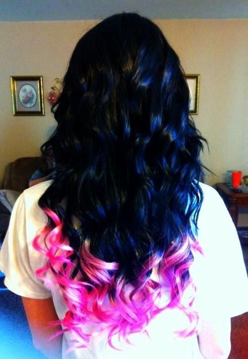Black Hair With Pink Tips Love This Hair Hair Styles Cool Hair Color