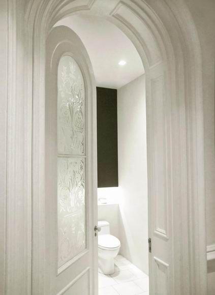 Etched Glass Powder Room Door In Nyc Apt Bathrooms