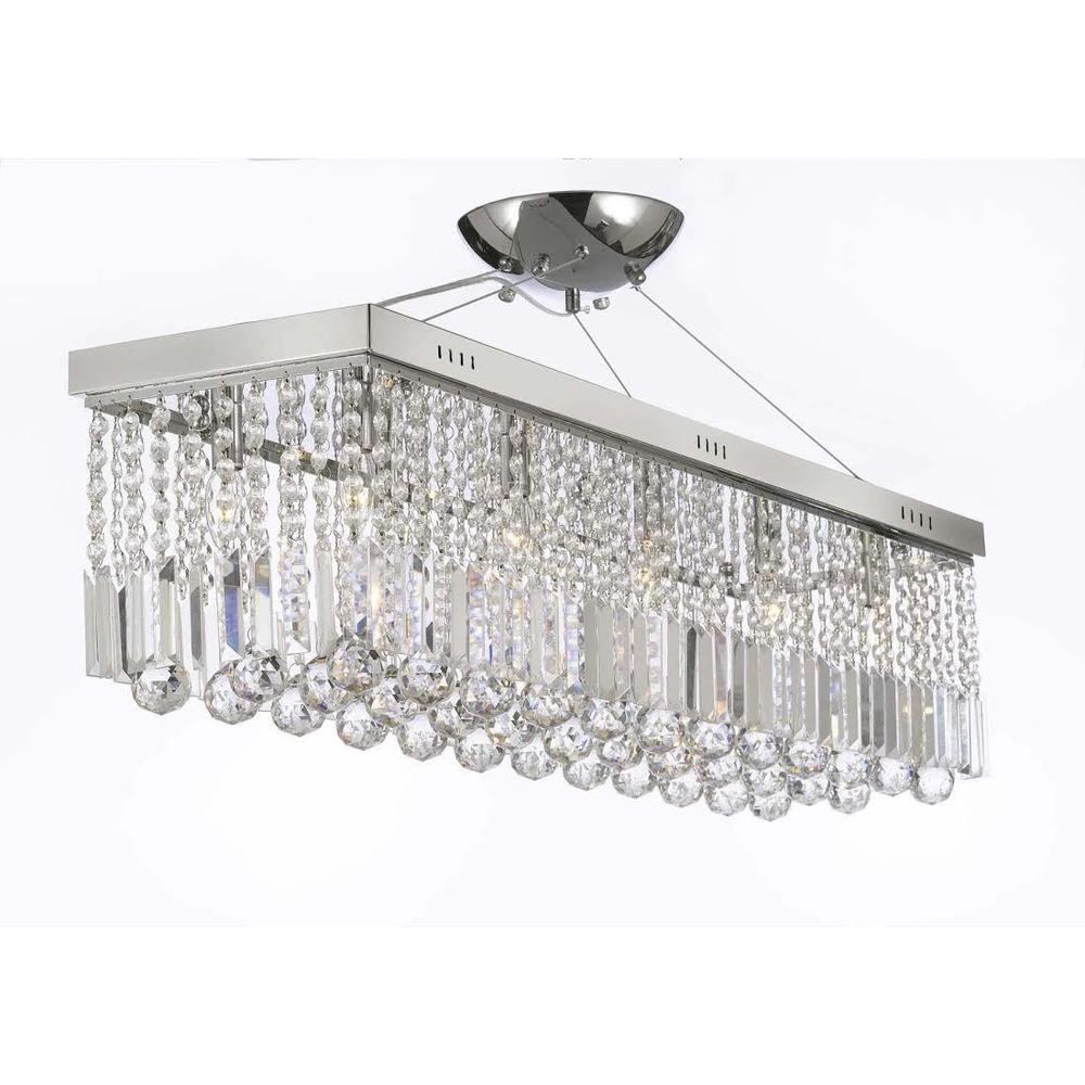 Contemporary 10 light crystal modern linear chandelier pendant light contemporary 10 light crystal modern linear chandelier pendant light fixture overstock shopping arubaitofo Choice Image