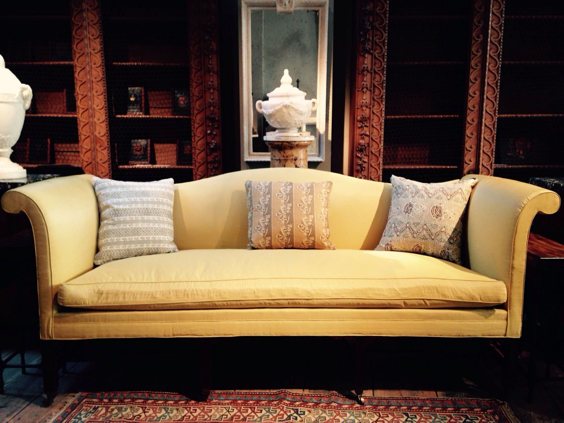 Our Augusta #sofa Covered In Lemon Crescent Silk Jasper Fabric By  #michaelsmithinc That We