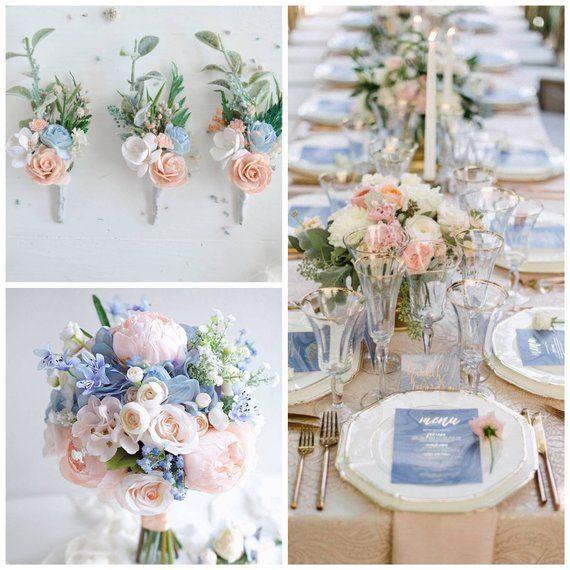 Blush blue boutonniere, Flower Button hole, Groomsman boutonniere, Rustic wedding, Wedding flower boutonnière, Wrist corsage