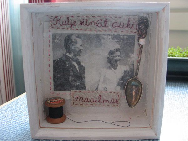 A present for my mother, included are the wedding photo of my grandparents and some items from their home.