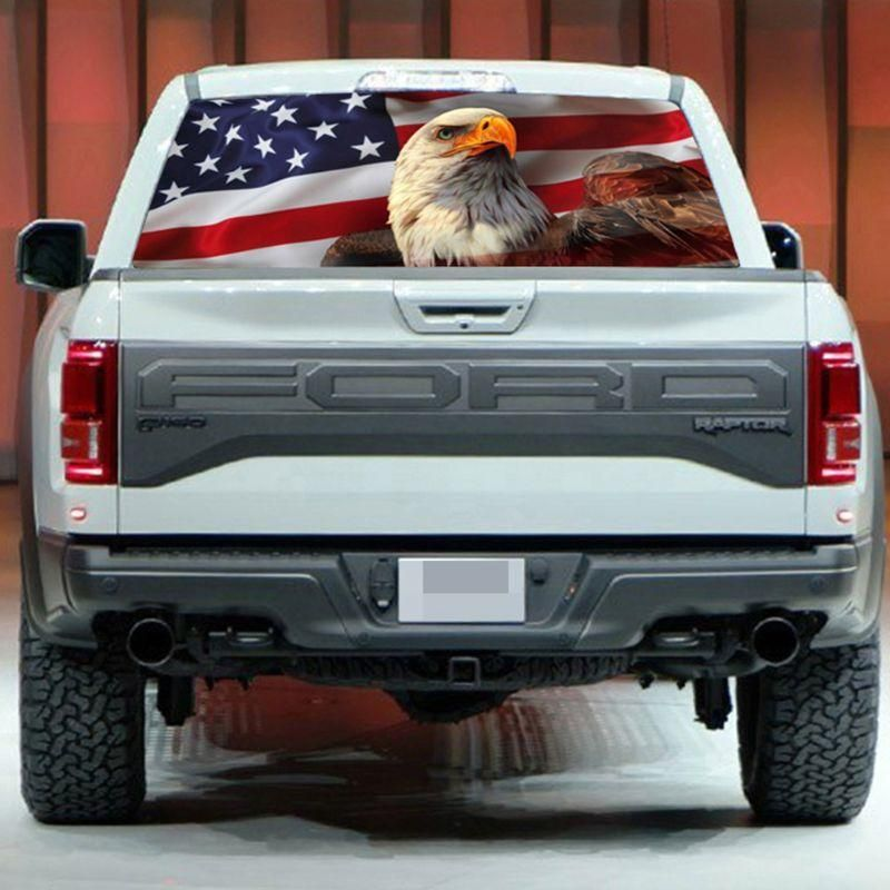 New Creative^ AMERICAN FLAG EAGLE Rear Window Wrap Graphic Decal Sticker Truck