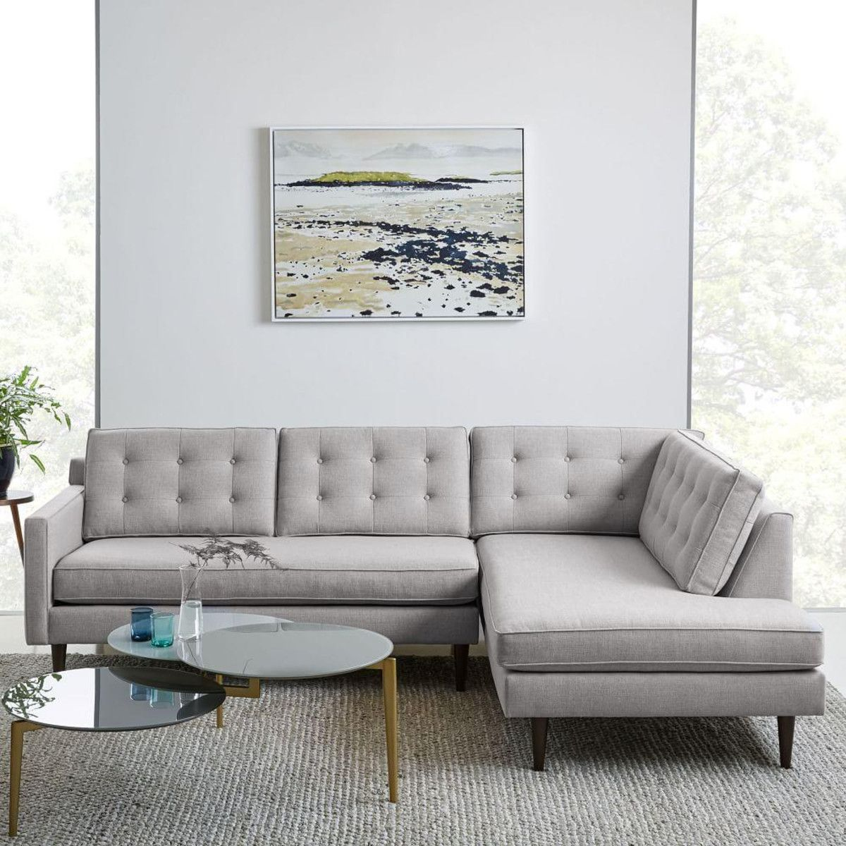 Drake 3 Seater Chaise Modular Sofa 254 Cm Sectional Mid Century Sectional Furniture