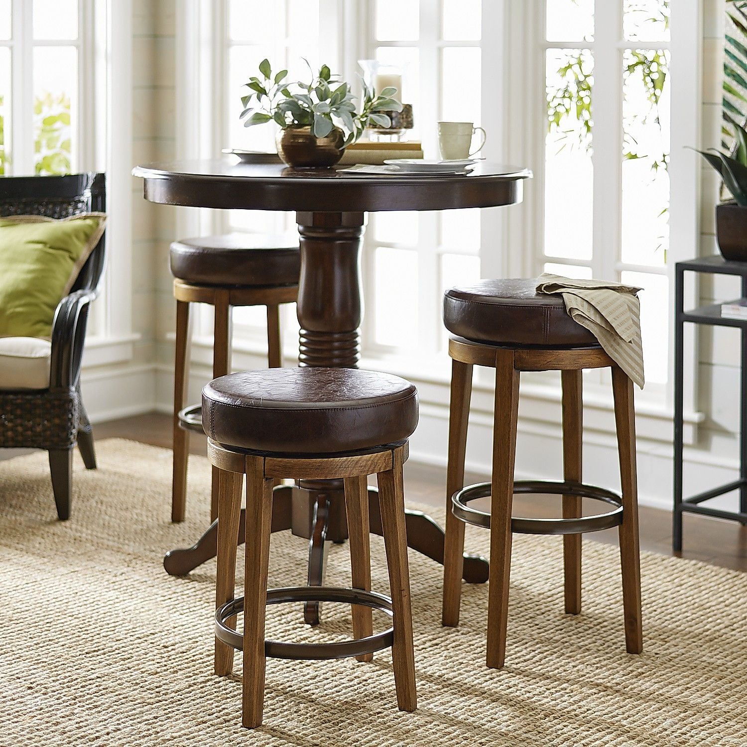 Stratmoor Pecan Swivel Counter & Bar Stool