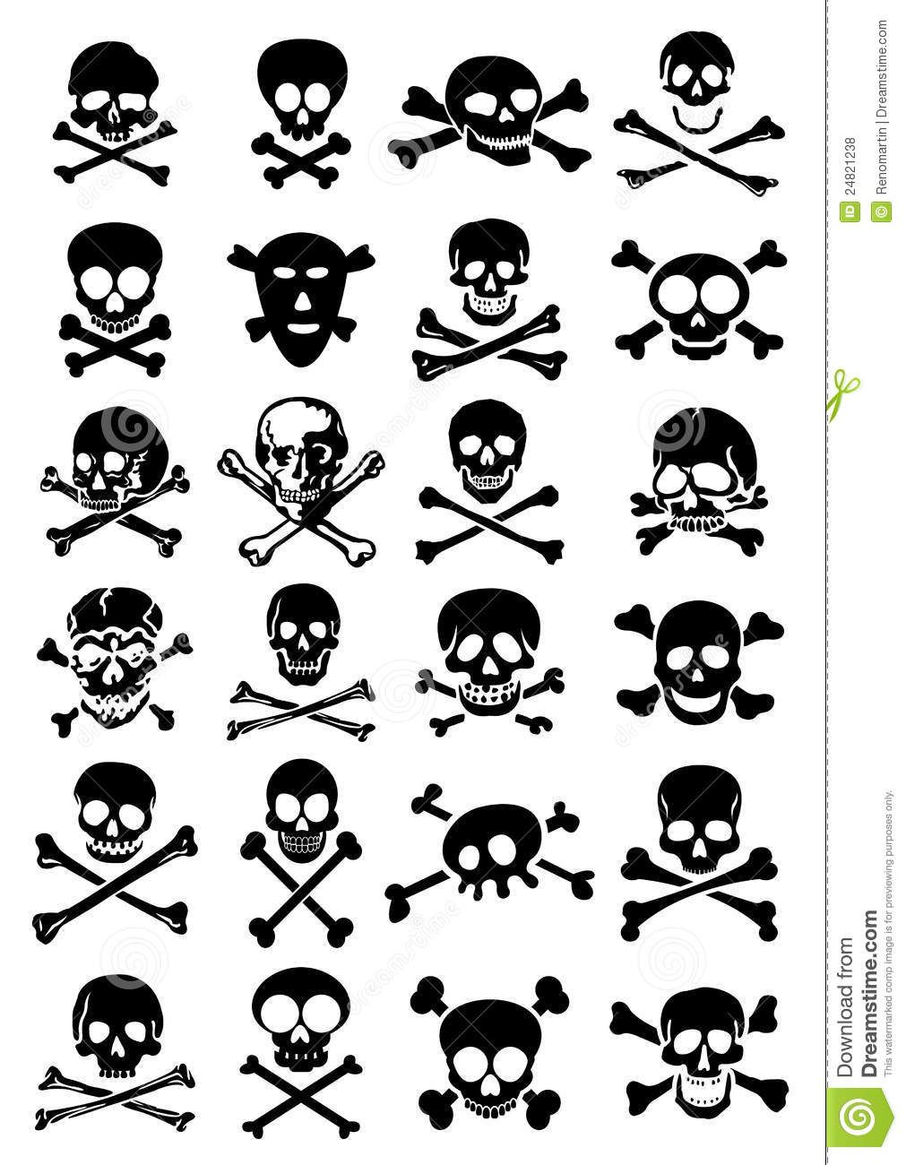Http Thumbs Dreamstime Com Z Skulls Crossbones Vector Collection White Bac 24821238 Jpg Pirate Tattoo Simple Skull Skulls Drawing