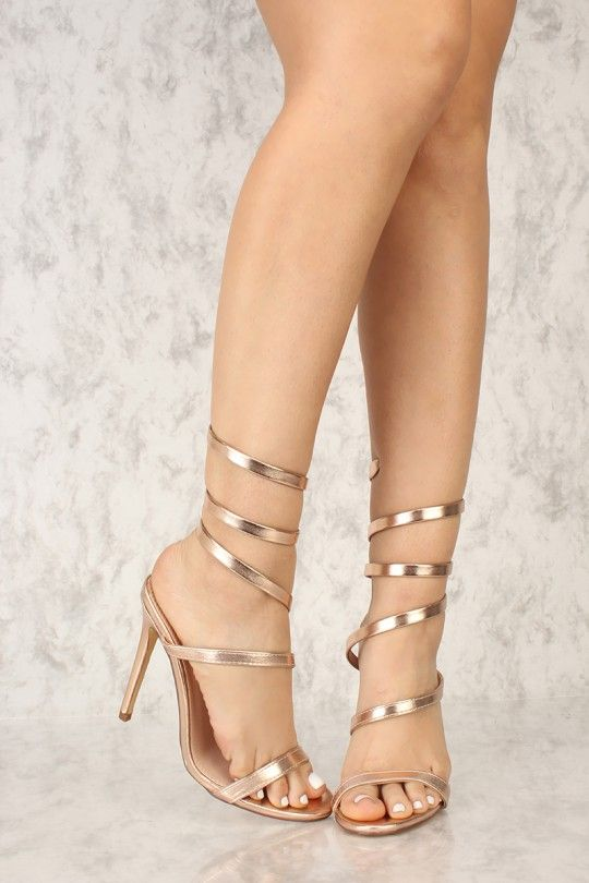 5337ca2ca70 Sexy Gold Open Toe Wrap Around Strap Single Sole Heels Metallic Faux Leather