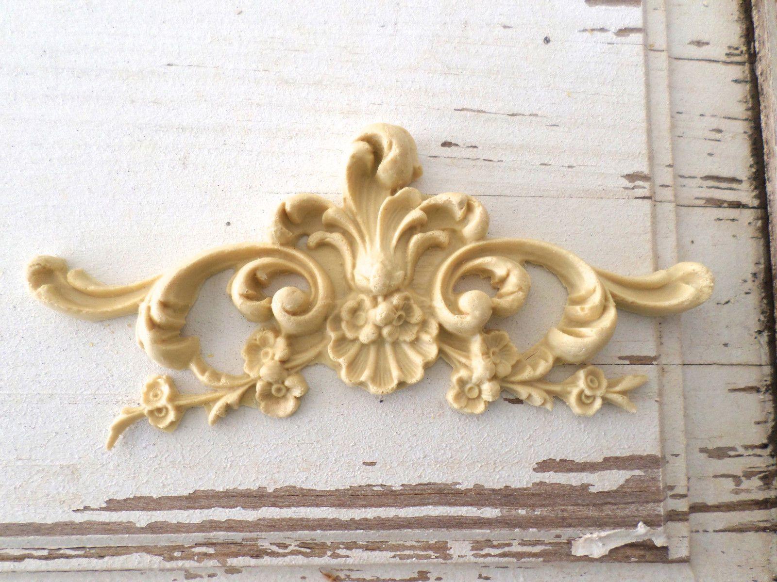 Architectural Carved Floral Crest Furniture Appliques Wood & Resin