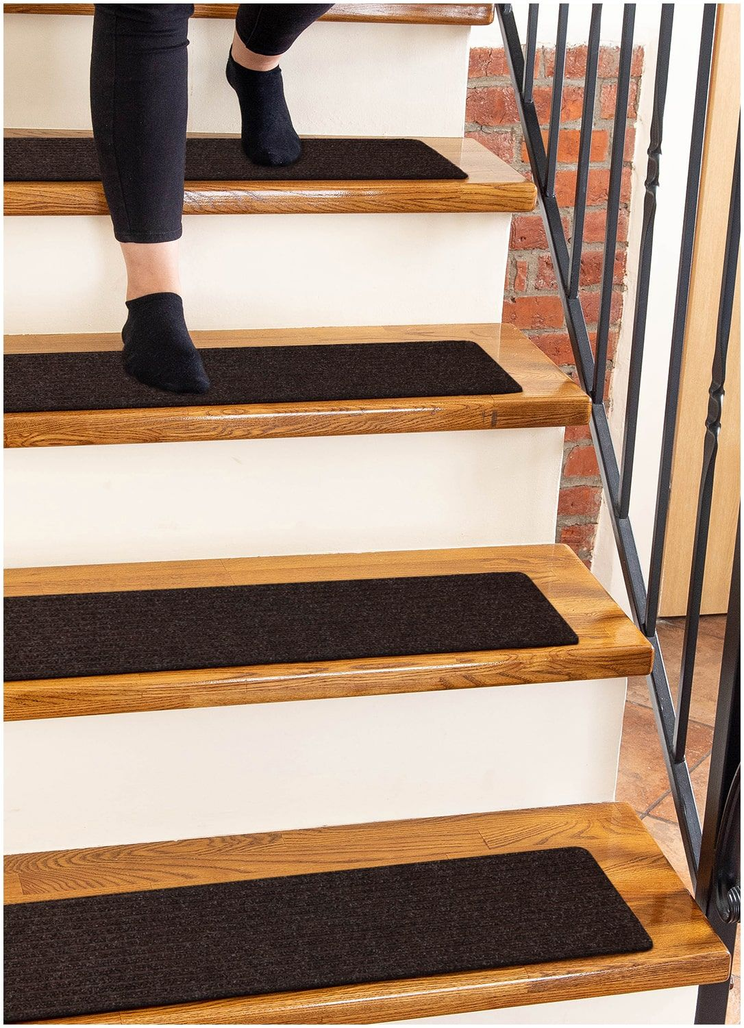 Non Slip Carpet Stair Treads With Adhesive Backing Brown 15 | Dog Slipping On Wood Stairs | Steps | Hardwood Floors | Self Adhering | Hardwood | Puppy Treads
