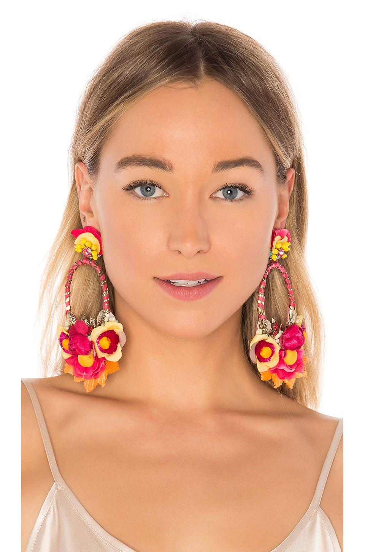 Ranjana Khan Floral Drop Earring in Orange Jewelry