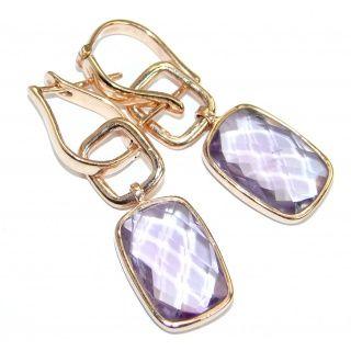 Genuine Pink Amethyst Rose Gold Over 925 Sterling Silver Handmade Earrings