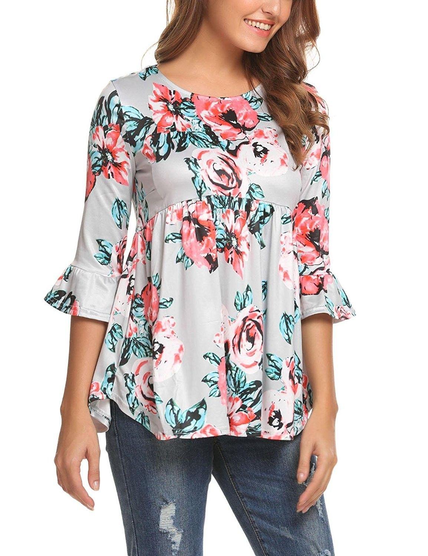 BingYELH Womens Summer Cold Shoulder Short Sleeve Floral Print Irregular Hem Asymmetrical Loose Fit Tunic Tops T Shirt