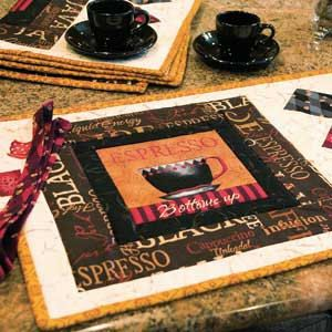 Cafe Espresso Quilted Place Mats Pattern  by marcellassewing