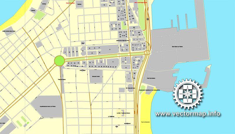 PDF Map Las Palmas Spain printable vector street City Plan map